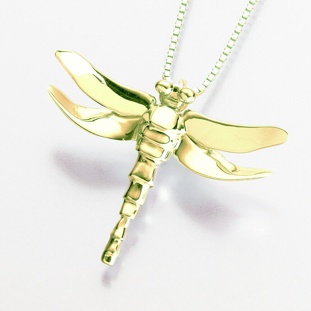 Gold Vermeil Dragonfly  Memorial Jewelry Pendant Funeral Cremation Urn