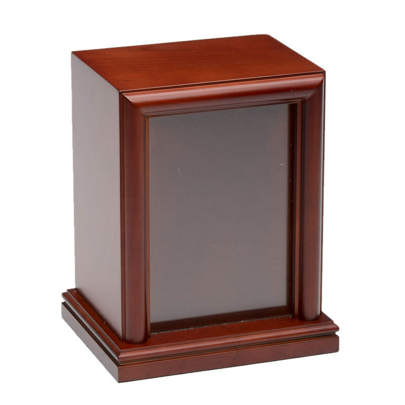 Large 100 Cubic Inch Vertical Photo Frame Wood Pet Cremation Urn-Cherry