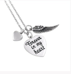 """Forever in my Heart"" Metal Heart Cremation Urn Pendant Necklace w/ Chain Poem"