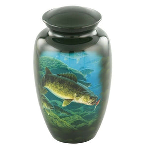 Large/Adult 210 Cubic Inch Metal Walleye Fish Funeral Cremation Urn for Ashes