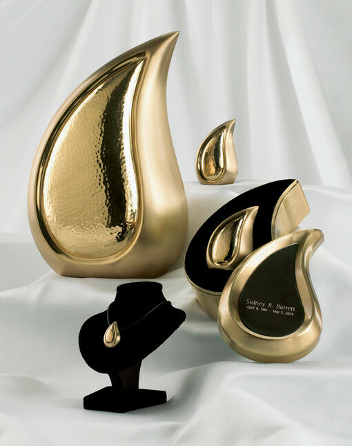 Set of 4 Brushed Brass Teardrop Cremation Urns - Adult, Pendant & 2 Keepsakes