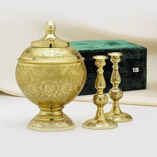Large/Adult 205 Cubic Inches Brass Cremation Urn Set for Ashes with Candlesticks