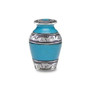 Small/Keepsake 3 Cubic Inch Turquoise Alloy Funeral Cremation Urn for Ashes