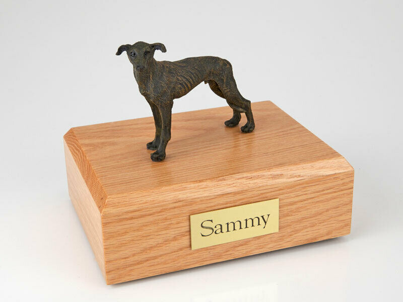 Greyhound, Brindle Stand Pet Cremation Urn Available in 3 Diff Colors & 4 Sizes