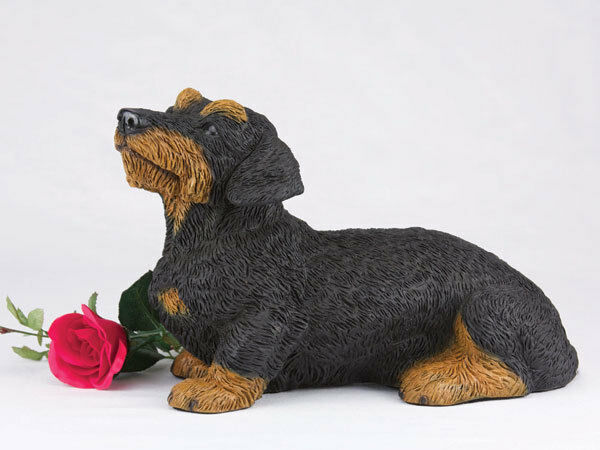 Large 138 Cubic Inches Black & Tan Dachshund Wire Haired Resin Urn for Ashes