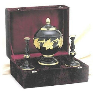 Black & Gold Color, Adult Brass Funeral Cremation Urn Set w. Box + Candlesticks