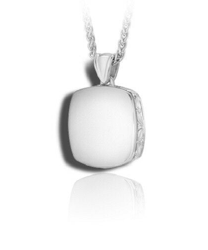 Sterling Silver High Polish Cushion Funeral Cremation Urn Pendant for w/Chain