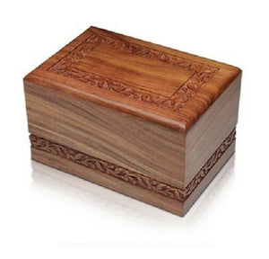 Large/Adult 220 Cubic Inch Rosewood Funeral Cremation Urn for Ashes w/Border
