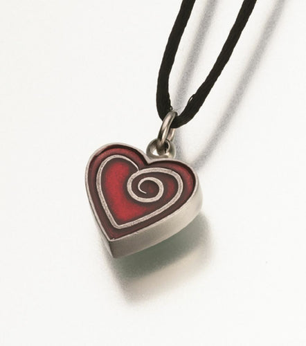 Pewter Heart w/ Red Enamel Spiral Memorial Jewelry Pendant Funeral Cremation Urn