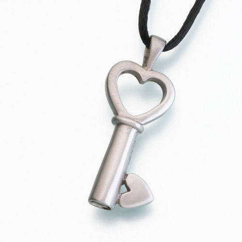 White Bronze Key to My Heart Memorial Jewelry Pendant Funeral Cremation Urn