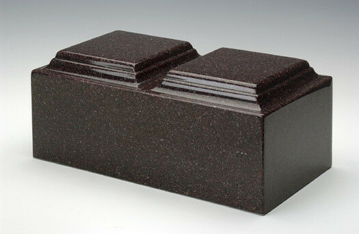 Classic Vintage Red Granite Companion Cremation Urn, 420 Cubic Inch TSA Approved