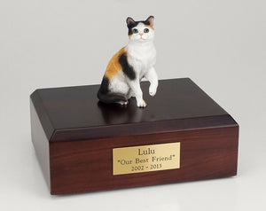 Calico Shorthair Cat Figurine Pet Cremation Urn Available 3 Diff Colors 4 Sizes
