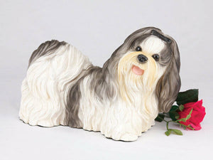 Large 123 Cubic Inches Black & White Shih Tzu Resin Urn for Cremation Ashes