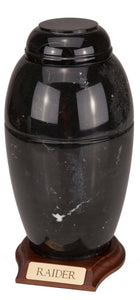 Large 168 Cubic Ins Black Marble Vase Urn for Cremation Ashes w/Engravable Base