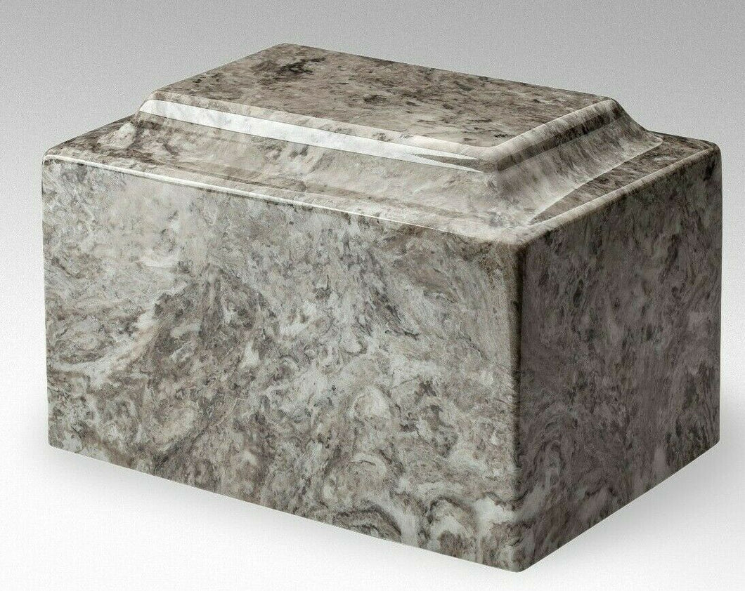 Classic Marble Gray & White 100 Cubic Inch Cremation Urn For Ashes, TSA Approved