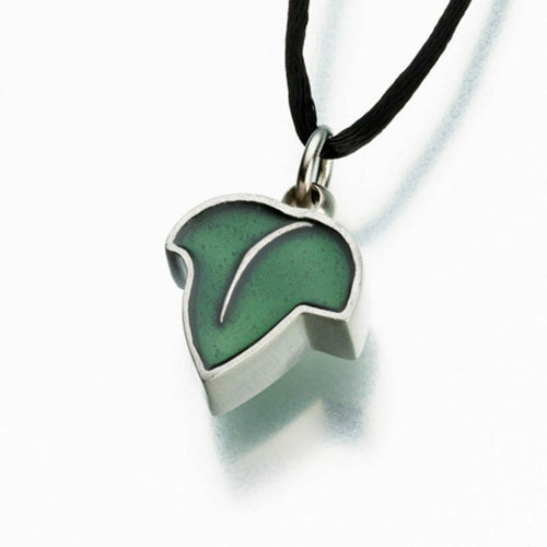Pewter Leaf with Green Enamel Memorial Jewelry Pendant Funeral Cremation Urn