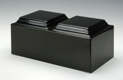 Classic Black Granite Companion Cremation Urn, 420 Cubic Inches, TSA Approved
