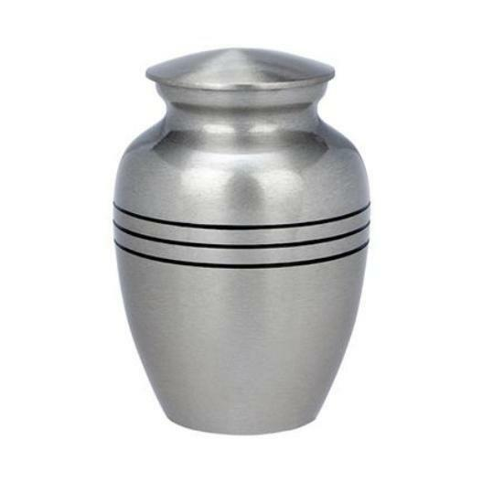 Small/Keepsake 87 Cubic Ins Classic Brass Pewter Funeral Cremation Urn for Ashes
