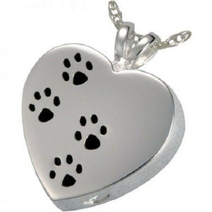 Stainless Steel Heart with Pawprints Funeral Cremation Urn Pendant with Chain