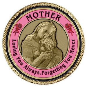 Mother's Tilt Medallion for Box Cremation Urn/Flag Case - 2 Inch Diameter