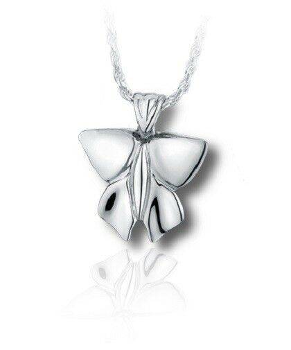 Sterling Silver Modern Butterfly Funeral Cremation Urn Pendant for Ashes w/Chain