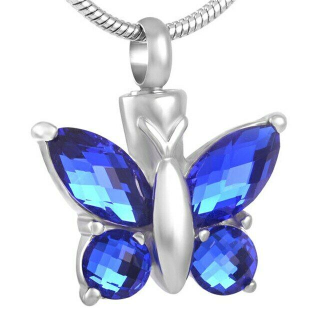 Stainless Steel Butterfly with Blue Stones Cremation Urn Pendant w/Chain