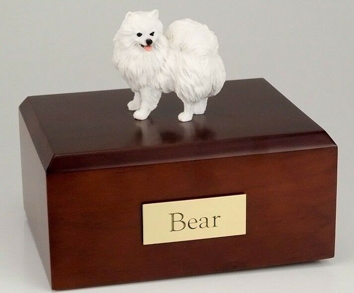 American Eskimo Min. Pet Funeral Cremation Urn Avail in 3 Diff Colors & 4 Sizes