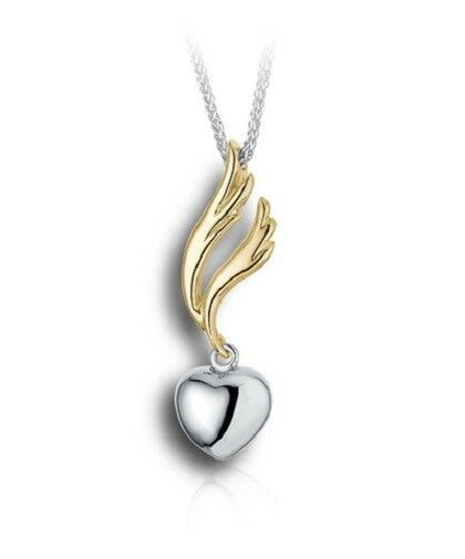 Sterling Silver & 10kt Gold Angel Wing & Heart Cremation Urn Pendant w/Chain