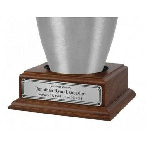 Wood Base with Engravable Pewter Nameplate for Funeral Cremation Urn