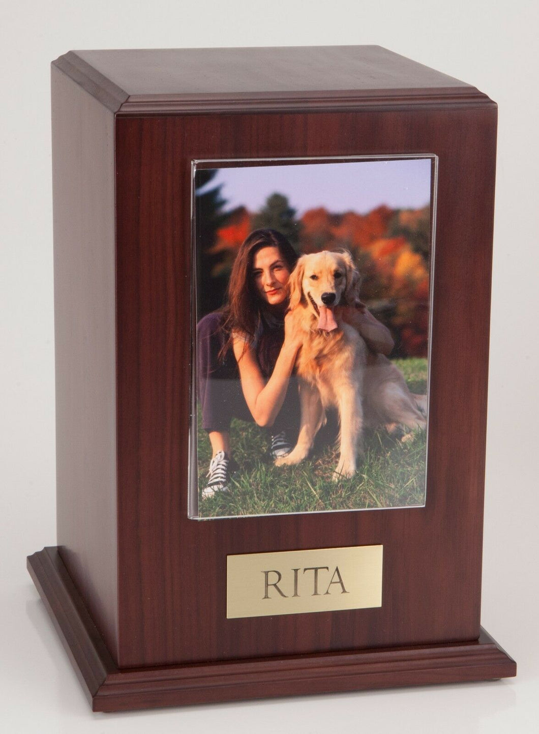Large 110 Cubic Ins Walnut Pet Tower Photo Urn for Ashes w/Engravable Nameplate