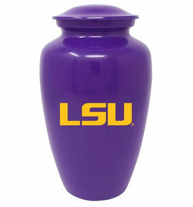 Large/Adult 220 Cubic Inch LSU Tigers Purple Metal Funeral Cremation Urn