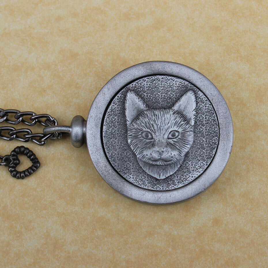 Pewter Keepsake Pet Memory Charm Cremation Urn with Chain - Forever Feline