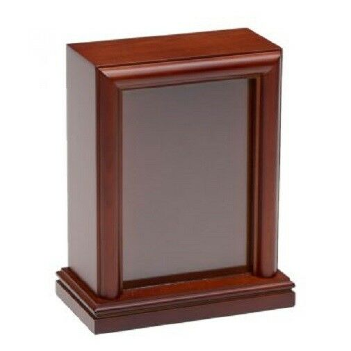 Small/Keepsake 45 Cubic Inch Vertical Photo Frame Wood Pet Cremation Urn -Cherry