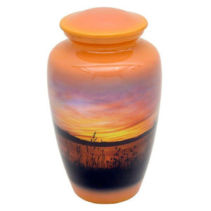 Large/Adult 210 Cubic Inch Metal Sunset Funeral Cremation Urn for Ashes