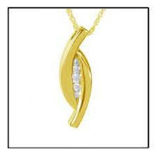 Embedded Stones 24k Gold Plated Sterling Silver Cremation Urn Pendant w/Chain