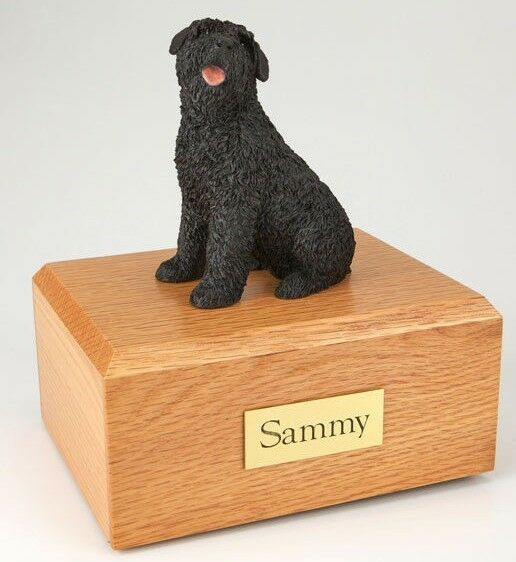Bouvier Pet Funeral Cremation Urn, Engraved. Avail. 3 Different Colors 4 Sizes