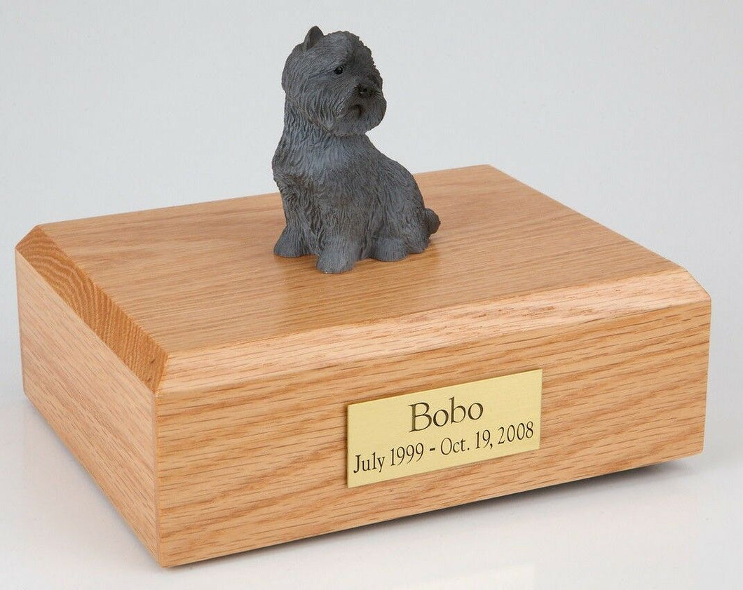 Black Cairn Terrier Pet Funeral Cremation Urn Avail in 3 Diff Colors & 4 Sizes