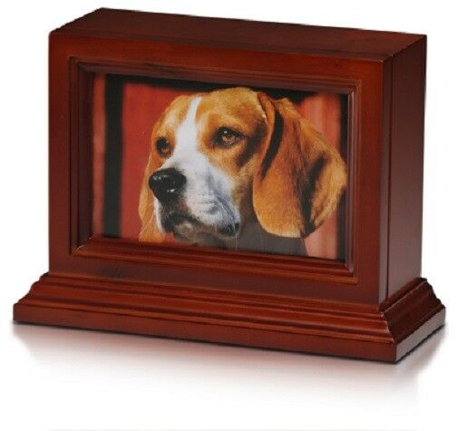 Small/Keepsake 45 Cubic Inch  Photo Frame Wood Pet Cremation Urn - Cherry