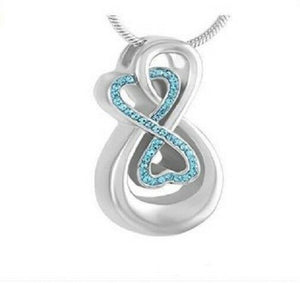 Stainless Steel Infinity w/Blue Stones Funeral Cremation Urn Pendant w/Chain