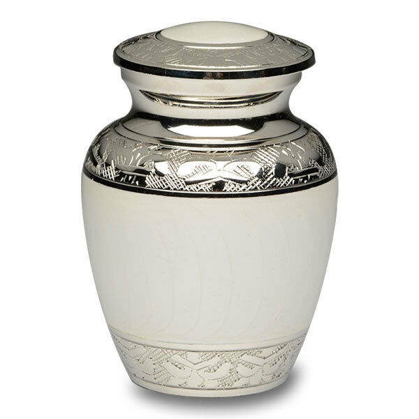 Small/Keepsake 30 Cubic Inch White Brass Funeral Cremation Urn for Ashes