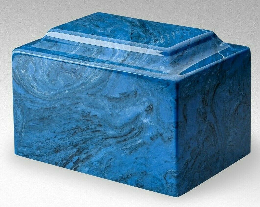 Classic Marble Blue 100 Cubic Inches Cremation Urn For Ashes, TSA Approved