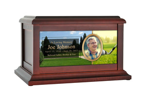 Large/Adult 200 Cubic Inches Golf Ball & Club Wood Photo Cremation Urn for Ashes