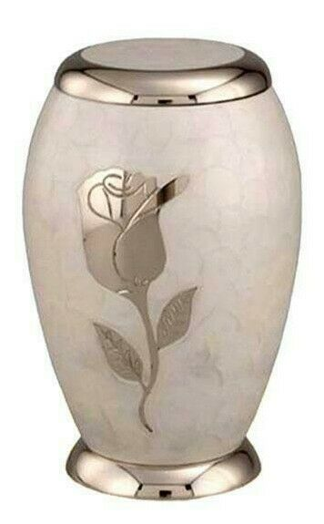 Large/Adult 220 Cubic Inch Brass Pearl White Funeral Cremation Urn for Ashes
