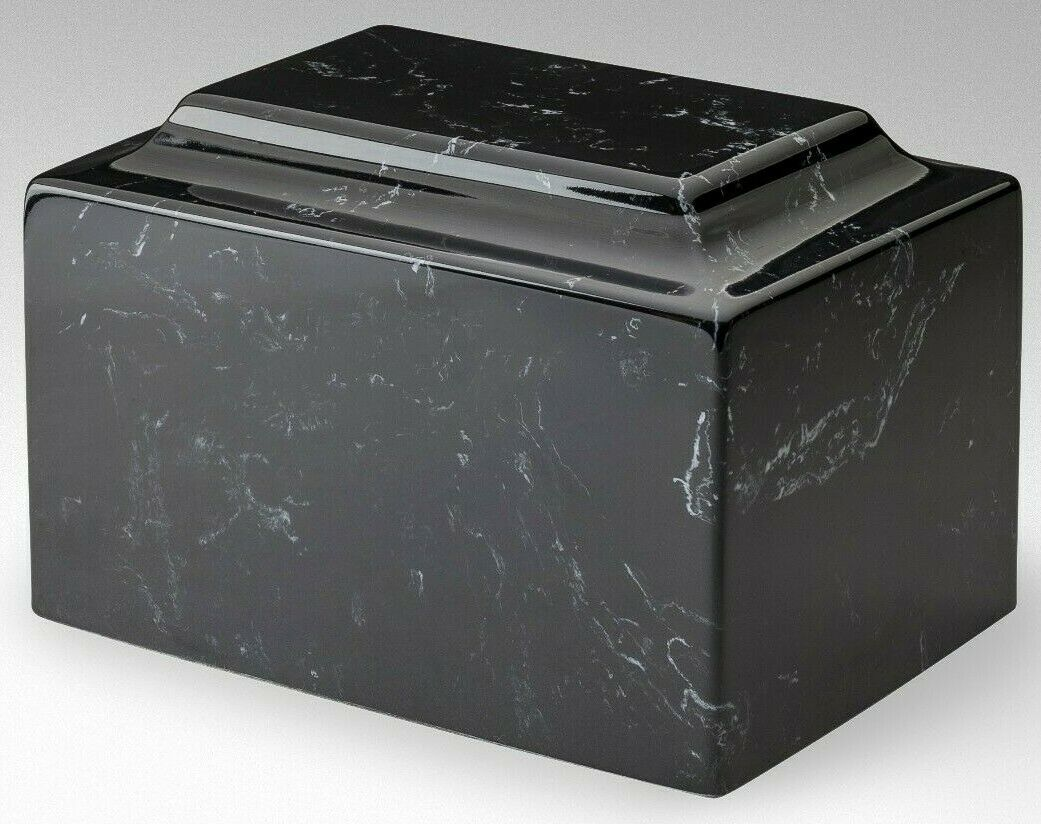 Classic Marble Black & White 100 Cubic Inches Cremation Urn Ashes, TSA Approved