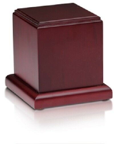 Small/Keepsake 70 Cubic Inch Cherry Birch Wood Cube Funeral Cremation Urn