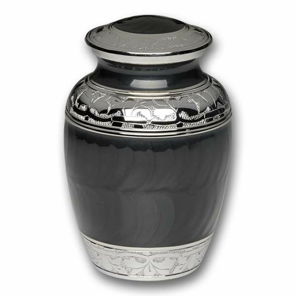 Small/Keepsake 70 Cubic Inch Charcoal Black Brass Funeral Cremation Urn for Ashes