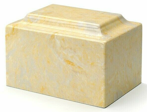 Marble Gold Infant/Child/Pet Funeral Cremation Urn 50 Cubic Inches, TSA Approved