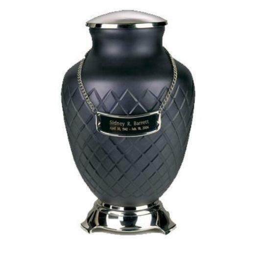 Large/Adult 212 Cubic Ins Hand-Cut Glass Baroque Funeral Cremation Urn for Ashes