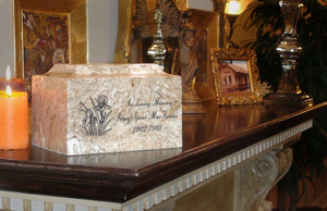 Classic Cultured Marble Blue & Gold 25 Cubic Inches Cremation Urn TSA Approved