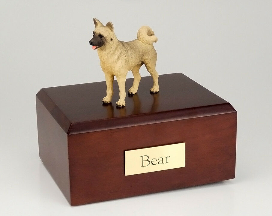 Akita Fawn Pet Funeral Cremation Urn Available in 3 Different Colors & 4 Sizes